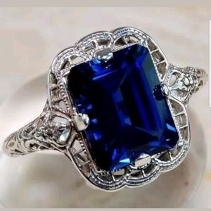Elegant Women 925 Silver Blue Sapphire Ring New